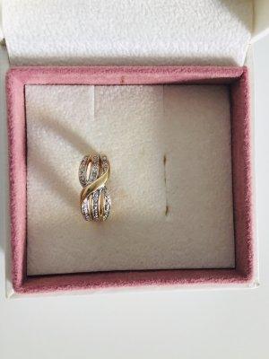 585 Gelbgold Ring mit 20 Diamanten