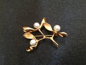 585 Gold Brosche Meisterstück Goldbrosche Zweig echt Gelbgold Echtgold  Perlen Hochzeit