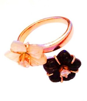 Ring multicolored real gold