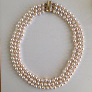 585 Gold Luxus Perlencollier echte Perlen Perlenkette Kette Collier Diamanten Brillanten