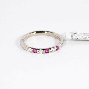 585 Weißgold Ring. 4 Brillanten 3 Saphire Pink. Gr.56 UVP 1342€ Made in Germany