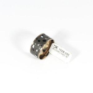585 Weißgold Ring, Fein-Grau/Schwarz/Weiss Emailliert. Größe 54. UVP 1028,00€