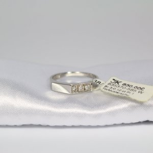 585 Weißgold Ring mit 3 Brillanten 0,12ct. Pi.1/TW Gr.53 UVP 630€ Made in Germany