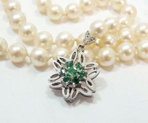 585 Weissgold Salz Wasser Perle Smaragd Collier Kette