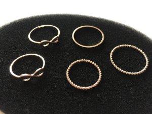 5er Ring-Set in roségold
