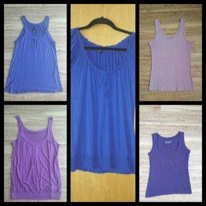5er Set Shirts Tops blau lila