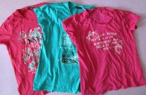 5er Set T-Shirts, Shirts, Kurzarm, Gr. XL/48 Normalgröße Türkis, Pink, Gelb-Weiß