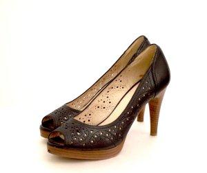 5th Avenue Peep Toe Pumps black-light brown imitation leather