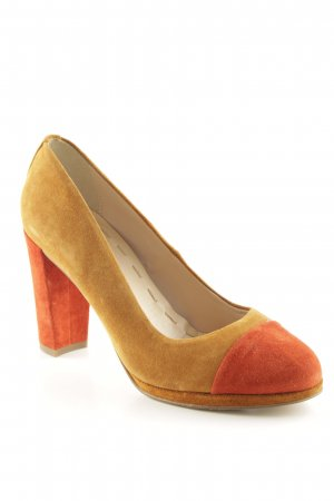 5th Avenue High Heels ocker-dunkelorange Colourblocking Street-Fashion-Look