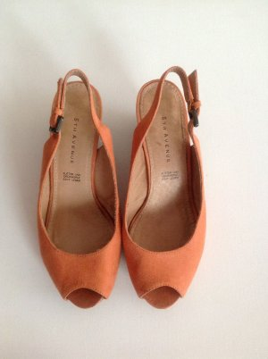 5th Avenue Wedge Sandals orange suede