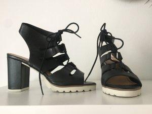 5th Avenue Sandaletto con tacco alto nero-bianco Pelle