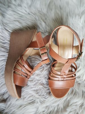 5th Avenue Wedge Sandals cognac-coloured