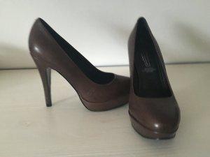 5th Avenue Schuhe Lederschuhe High Heels Pumps Dunkelbraun Leder hohe Schuhe 37