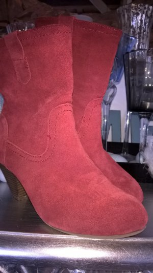 5th Avenue Slip-on Booties dark red-neon red suede