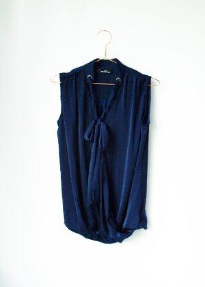 6€ Aktion! ärmellose Schluppenbluse im Wickellook Blau Collection London 36 S 8