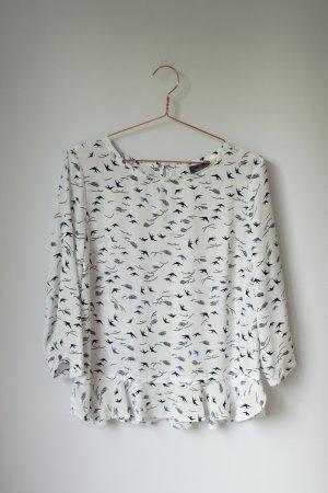 6€ Aktion! weiße oversized Bluse mit Schlösschen Schwalbenprint Yessica 38