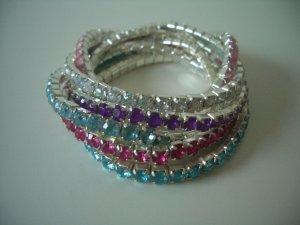 6 elastische Strass Armbänder in verschiedenen Farben (Modeschmuck)