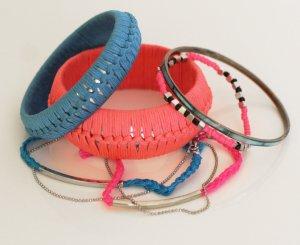 6-teiliges Armband-Set in blau/pink