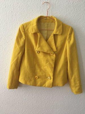 Vintage Veste courte jaune-jaune primevère tissu mixte