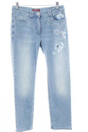 Jeans a 7/8 azzurro-bianco sporco motivo floreale stile casual