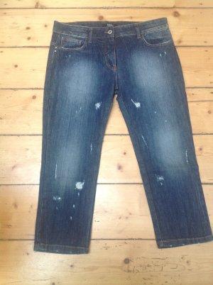 Jeans 7/8 bleu acier tissu mixte