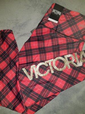 Victoria's Secret Pantalone a 7/8 rosso-nero Tessuto misto