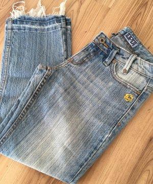 7/8 Used Look Low Waist Slim Fit Skinny Jeans Fransen XS 34 Ankle Röhrenjeans