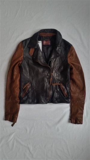 7 For All Mankind, Bikerjacke, schwarz-braun, Leder, XS, made in Italy, neu, € 900,-