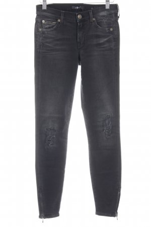 7 For All Mankind Bikerjeans dunkelgrau-schwarz Biker-Look