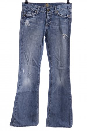 7 For All Mankind Jeans bootcut bleu style déchiré