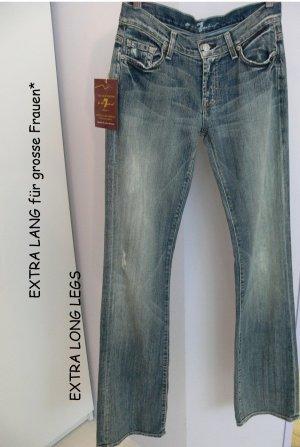 7 For All Mankind Boot Cut Jeans blau Used-Optik