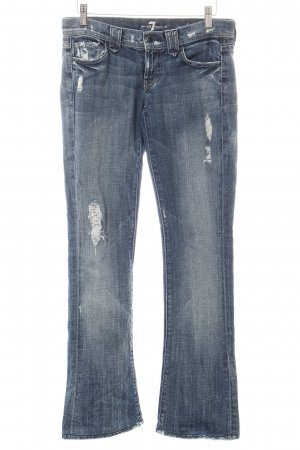 7 For All Mankind Boot Cut Jeans blau-wollweiß Used-Optik