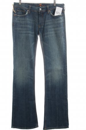 7 For All Mankind Boot Cut Jeans dunkelblau Used-Optik