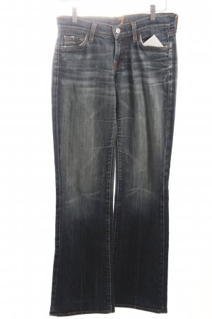 7 For All Mankind Boot Cut Jeans dunkelblau-wollweiß Used-Optik