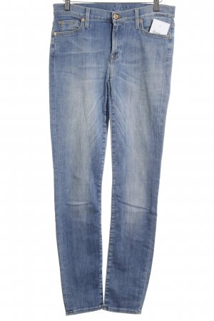 7 For All Mankind Vaquero de talle alto azul look Street-Style