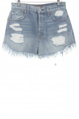 7 For All Mankind Hot Pants kornblumenblau Destroy-Optik