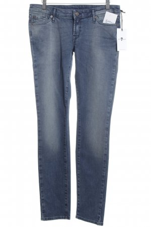7 For All Mankind Hüftjeans blau-wollweiß Washed-Optik