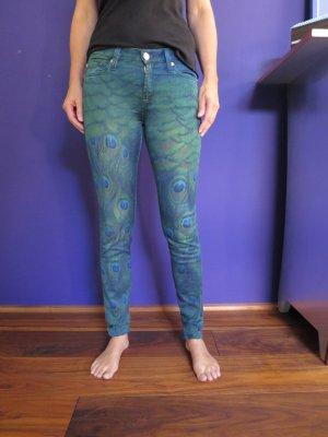 7 for all mankind Jeans mit Pfauenfedern Druck