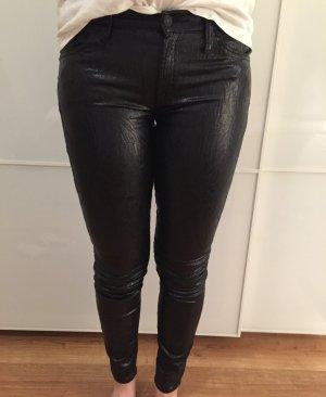 7 for all mankind Jeans schwarz coated jacquard Leder 27