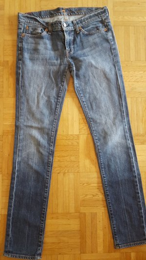 7 For All Mankind Skinny jeans blauw-azuur Katoen