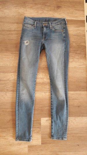 7 for all Mankind Jeans Skinny Slim Fit Röhre 25 Röhrenjeans Classic Destroyed
