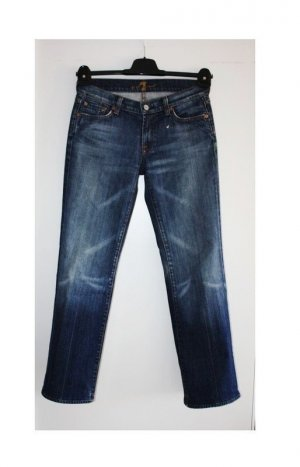 7 For All Mankind Jeans cigarette bleu coton