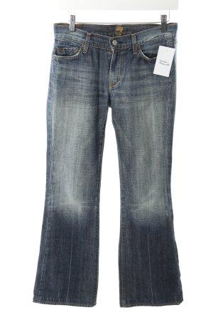 7 For All Mankind Jeans flare bleu foncé lavage à l'acide