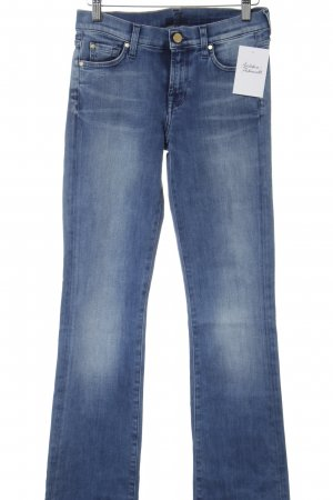 7 For All Mankind Jeansschlaghose stahlblau Used-Optik