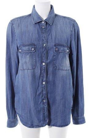 7 For All Mankind Langarmhemd stahlblau Street-Fashion-Look