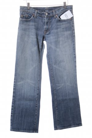 7 For All Mankind Salopette en jeans bleu pâle-beige clair gradient de couleur