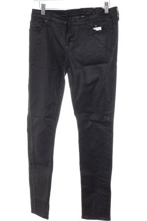 7 For All Mankind Lederhose schwarz-grau Biker-Look