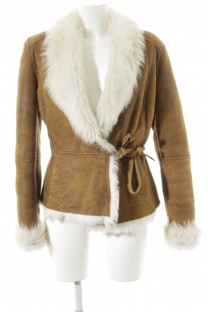 7 For All Mankind Lederjacke camel-wollweiß 70ies-Stil