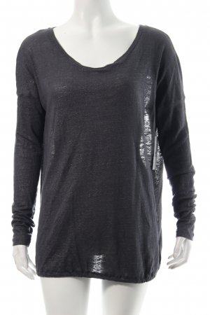 7 For All Mankind Longsleeve dunkelgrau Glitzer-Optik