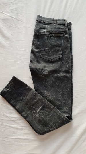 7 For All Mankind Ripped Jeans Hose Grau Weiß